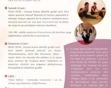 Flyer Yoga Rennes : travail postural approfondu et pranayama